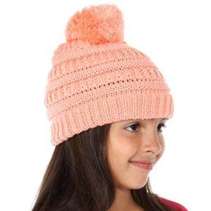 Other - new Children pom pom beanie hat peach